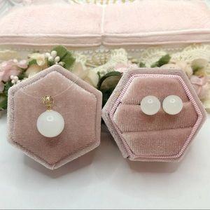 18K Gold white Jade Pendant earrings set